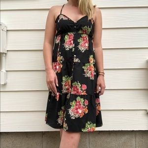 American Eagle Floral Tiered Black Dress
